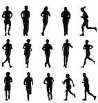 many detailed running silhouettes