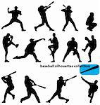 big baseball silhouettes collection with high detail Stock Photo - Royalty-Free, Artist: kamphi                        , Code: 400-05128662