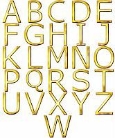 fancy letters - 3d golden alphabet isolated in white Stock Photo - Royalty-Freenull, Code: 400-05130078