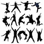vector jumping and flying people silhouettes