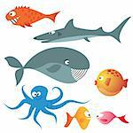 Set of various sea animals (fishes, octopus, whale, shark)