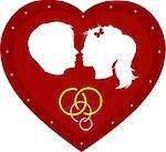 Couple loving boy and girl in big red heart