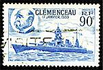 vintage french Stamp depicting the battleship Clemenceau launched 17th January 1939 Stock Photo - Royalty-Free, Artist: fotomy                        , Code: 400-05137768