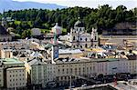The aerial view of Salzburg City, Austria from Kapuziner Kloster Stock Photo - Royalty-Free, Artist: gary718                       , Code: 400-05143339