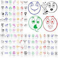 Set of smilies. Part 2. Isolated groups and layers. Global colors. Stock Photo - Royalty-Freenull, Code: 400-05147365