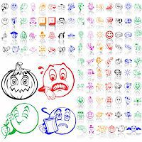 Set of smilies. Part 3. Isolated groups and layers. Global colors. Stock Photo - Royalty-Freenull, Code: 400-05147366