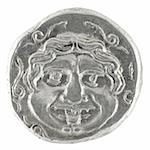 Medusa on ancient Greek half drachm from 300 BC isolated in white Stock Photo - Royalty-Free, Artist: Georgios                      , Code: 400-05148873