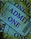 blue admit one tickets with a grunge touch upon it Stock Photo - Royalty-Free, Artist: argus456                      , Code: 400-05150516