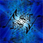 musical notes on a bright blue background