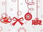 hanging christmas icons backround with grey seamless pattern Stock Photo - Royalty-Free, Artist: aispl                         , Code: 400-05151349
