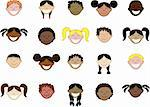 Twenty different children's faces. See other images in this series. Vector Illustration. Stock Photo - Royalty-Free, Artist: BasheeraDesigns               , Code: 400-05153074