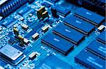 Blue electronic circuit close-up