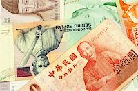 Currencies of Singapore, Taiwan, Korea, Brunei Darussalam and Indonesia. Stock Photo - Royalty-Freenull, Code: 400-05154243
