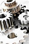 Industrial metal gears and machine parts connected Stock Photo - Royalty-Free, Artist: Elenathewise                  , Code: 400-05157036