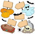 Halloween wooden signs collection - vector illustration. Stock Photo - Royalty-Free, Artist: clairev                       , Code: 400-05160135