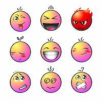 Set of impish, shout, angry, lovely, laugh, smile, afraid, dizzy and silent smiley Stock Photo - Royalty-Freenull, Code: 400-05162233