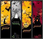 set of four different halloween banners with haunted house, bats, pumpkin and ghost