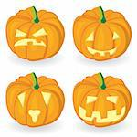Pumpkin icon set for Halloween. Vector illustration.