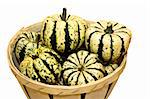 Basket of ornamental squash (Cucurbita pepo) isolated against a white background Stock Photo - Royalty-Free, Artist: sgoodwin4813                  , Code: 400-05167587