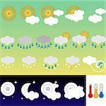 Set of 21 weather icons retro style
