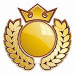 Gold sphere shield - whit crown and laurels. Stock Photo - Royalty-Free, Artist: faberfoto                     , Code: 400-05177820