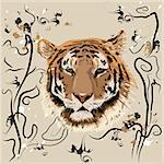 Bengal tiger on the background of the national pattern Stock Photo - Royalty-Free, Artist: orensila                      , Code: 400-05181919