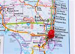 Red pin in map showing Miami, Florida as the destination Stock Photo - Royalty-Free, Artist: Gramper                       , Code: 400-05186183