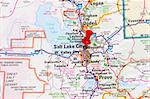 Red pin showing Salt Lake City, Utah as the destination Stock Photo - Royalty-Free, Artist: Gramper                       , Code: 400-05186187