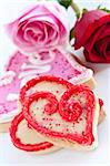 Homemade baked shortbread Valentine cookies with roses Stock Photo - Royalty-Free, Artist: Elenathewise                  , Code: 400-05187279