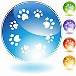 Paw print crystal isolated on a white background.