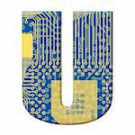 One letter from the electronic technology circuit board alphabet on a white background - U
