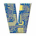 One letter from the electronic technology circuit board alphabet on a white background - V