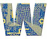 One letter from the electronic technology circuit board alphabet on a white background - W