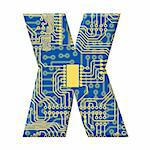 One letter from the electronic technology circuit board alphabet on a white background - X