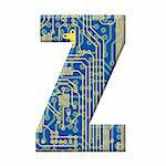 One letter from the electronic technology circuit board alphabet on a white background - Z