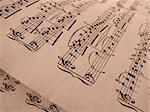 sepia toned old musical notes background Mozart sonatina fragment Stock Photo - Royalty-Free, Artist: DLeonis                       , Code: 400-05195952