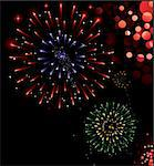 Illustration of exploding fireworks in various colors Stock Photo - Royalty-Free, Artist: ThomasAmby                    , Code: 400-05198564