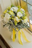 Image of a beautiful floral bouquet in window sill Stock Photo - Royalty-Freenull, Code: 400-05199870