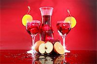 Wedged with an orange slice and maraschino cherry Stock Photo - Royalty-Freenull, Code: 400-05202435