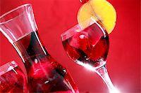 Wedged with an orange slice and maraschino cherry Stock Photo - Royalty-Freenull, Code: 400-05202438