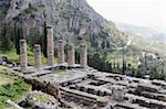 The ruins of Temple of Apollo in the archaeological site of Delphi in Greece; Delphi was believed to be the centre of the earth Stock Photo - Royalty-Free, Artist: alexandr6868                  , Code: 400-05206839