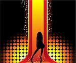 Sexy fashion girl in beautiful and colorful catwalk. Editable Vector Image