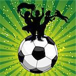 Crowd Celebrating Soccer Game on Ball. Editable Vector Illustration