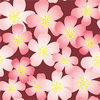 flores - Abstract cherry-flowers background. Seamless pattern. Vector illustration. Stock Photo - Royalty-Freenull, Code: 400-05222044