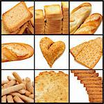 a collage of nine pictures of different kind of bread Stock Photo - Royalty-Free, Artist: nito                          , Code: 400-05223662