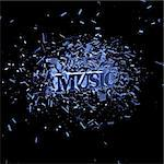 exploding word music on black background - 3d illustration Stock Photo - Royalty-Free, Artist: drizzd                        , Code: 400-05227324