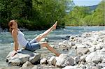 A woman enjoys the cooling on a cold River. Stock Photo - Royalty-Free, Artist: toberl77                      , Code: 400-05229351