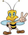 Wasp Victory - colored cartoon illustration, vector Stock Photo - Royalty-Free, Artist: derocz                        , Code: 400-05229492
