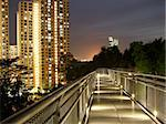 nice view of lighted walkway with trees and buildings by night Stock Photo - Royalty-Free, Artist: iwansntu                      , Code: 400-05229632
