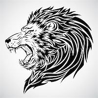 roar lion head picture - Lion head tattoo.  This image is a vector illustration and can be scaled to any size without loss of resolution. Included are a .eps and hires jpeg file. You will need a vector editor such as Adobe Illustrator or Coreldraw to use this file.  Each object are grouped and background are on separate layer for easy editing.    All works were created in adobe illustrator. Stock Photo - Royalty-Freenull, Code: 400-05230244